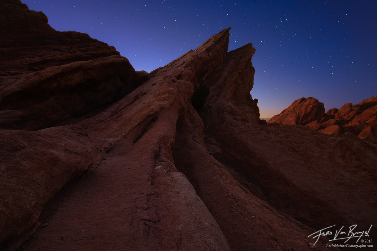 Vulcan Light - Stars at Twilight, Vasquez Rocks, California, los angeles,, photo