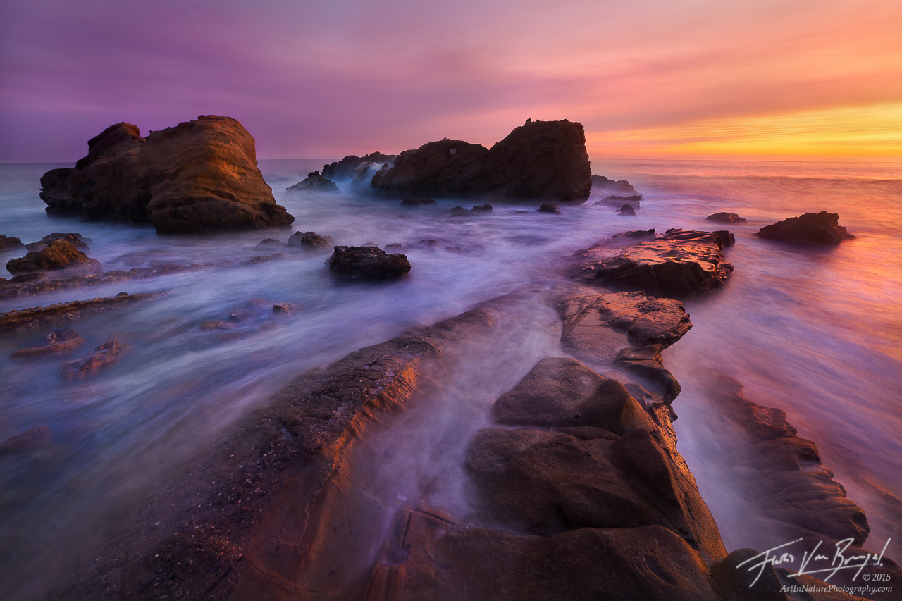 Sunset Rushing Tide, Laguna Beach, California, tides of color, , photo
