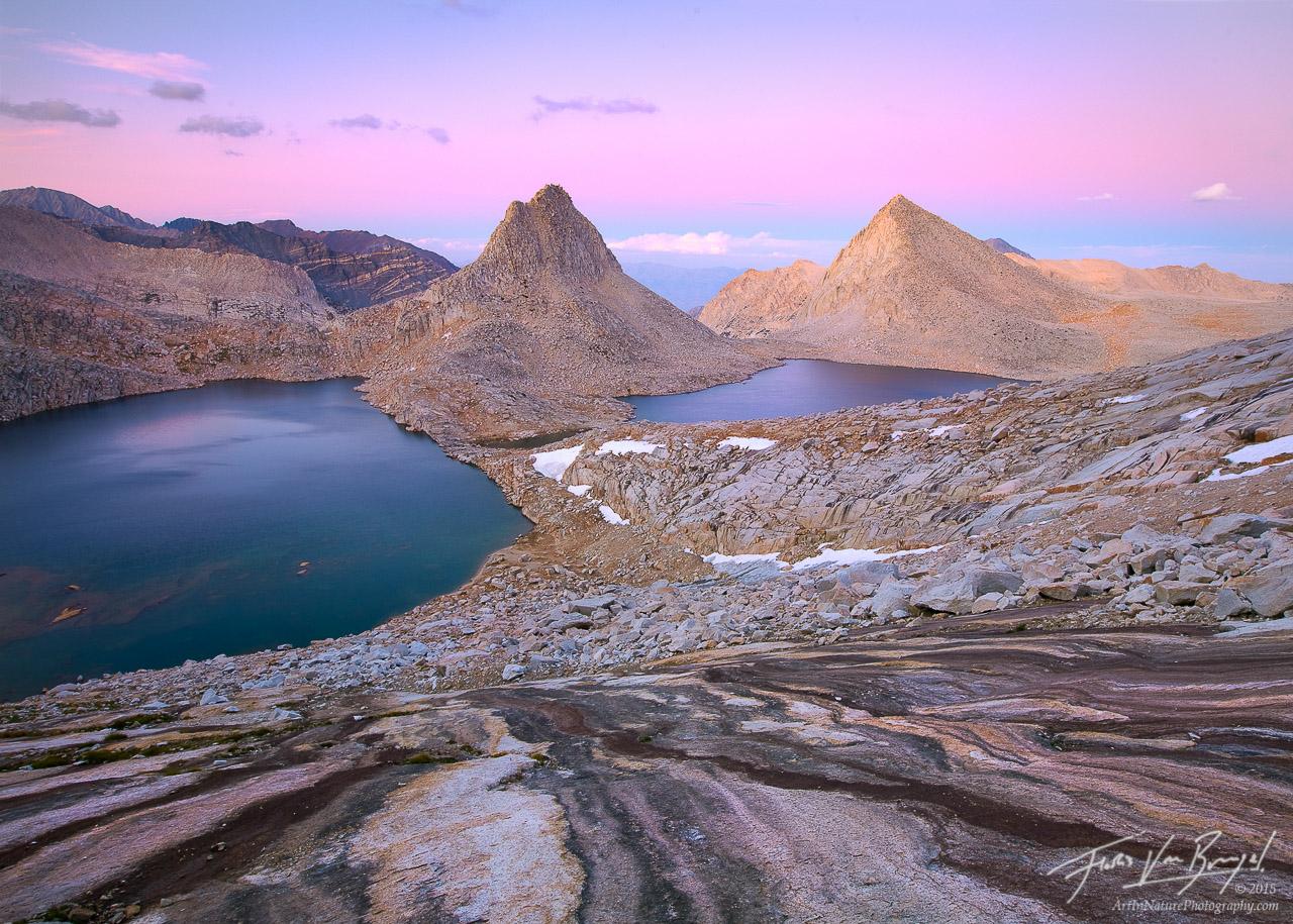 Royce Lakes - Peaks and Earth Shadow, Sierra Nevada, California, granite paradise, john muir wilderness, photo