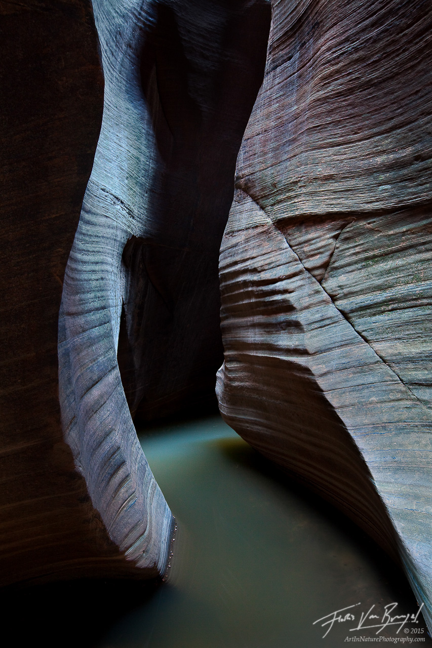 Spooky Slot Canyon, Zion National Park, Utah, adventure awaits, dark, photo
