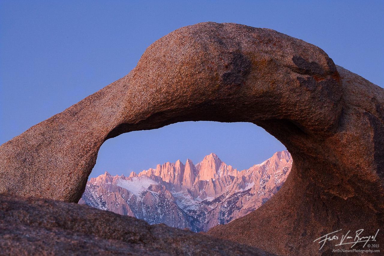 Mount Whitney through Mobius Arch, Alabama Hills, California, photo