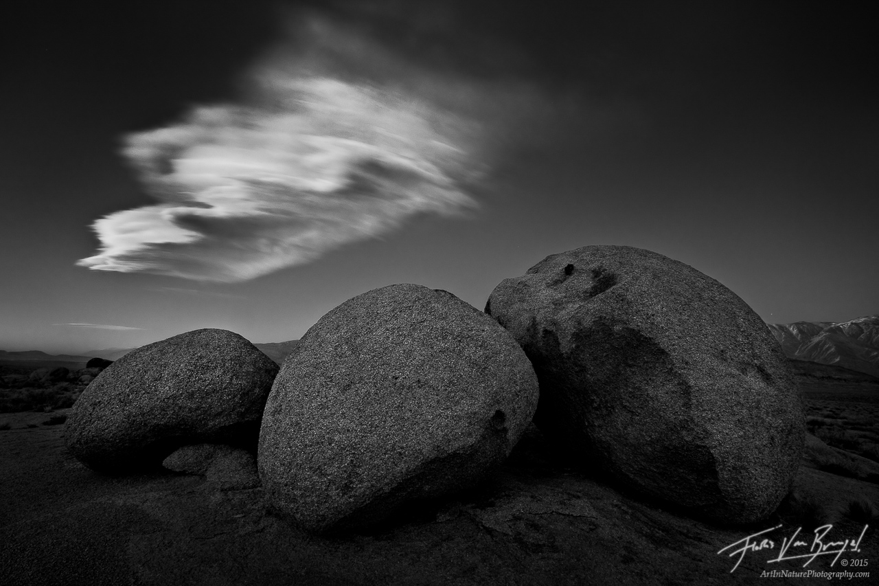 Black and White Stones and Lenticular Cloud, Owens Valley, California, sleeping stones, ghosts, sierra wave, photo