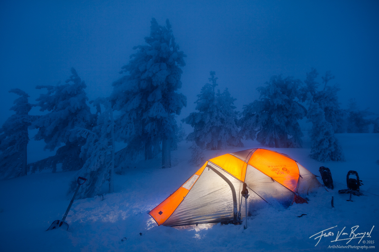 Winter Camping Tent, Drake Peak, Oregon, In a frozen fairytale, warner range,, photo