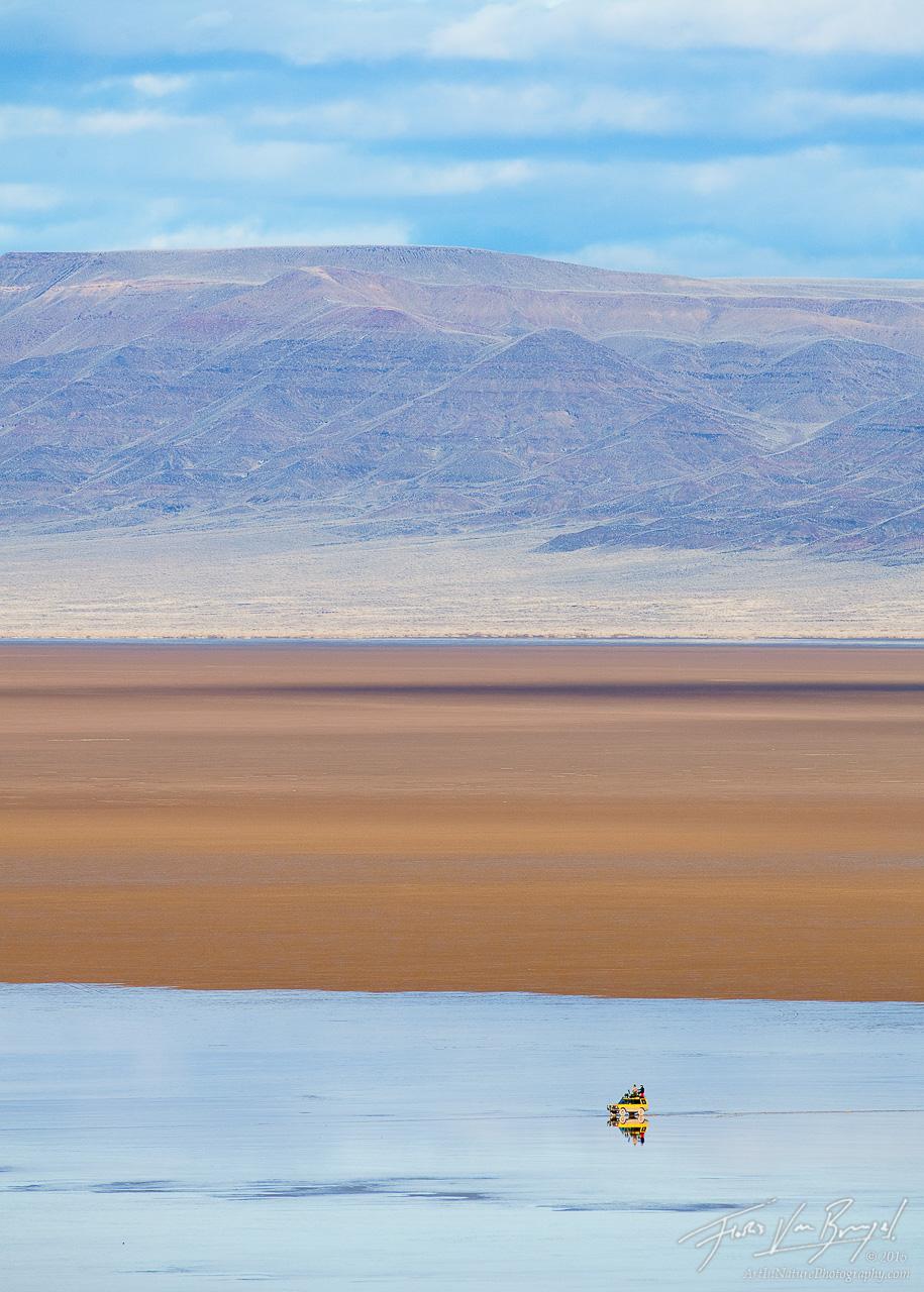 Lone Landrover on the Playa, Alvord Desert, Oregon , photo