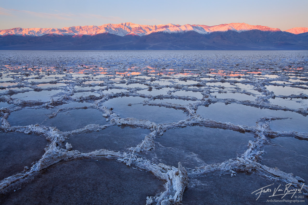 Flooded Badwater Salt Polygons and Telescope Peak, Death Valley National Park, California, desert, rains, photo