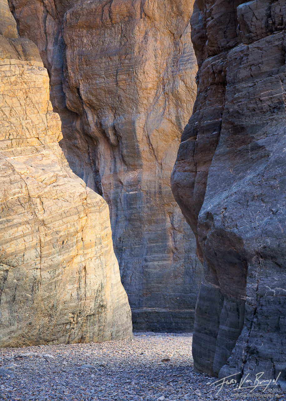 Fall Canyon Slot, Death Valley National Park, California, canyon gold, reflected light, photo