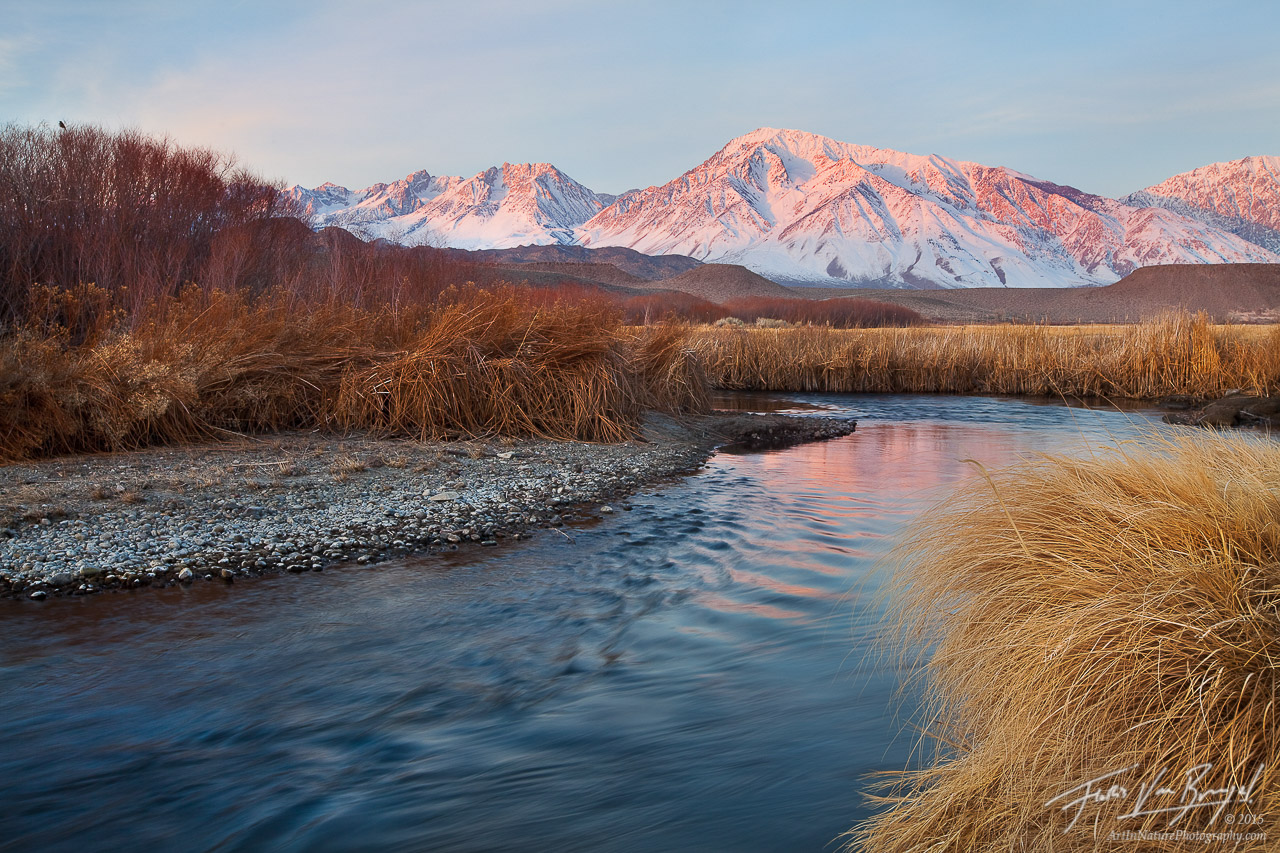 Dawn over Owens River and Mount Tom in Winter, Eastern Sierra, California, quiet dawn, bishop, fishing, photo