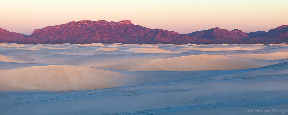 Dune Panorama, White Sands National Monument, New Mexico, sand waves, sunrise, photo