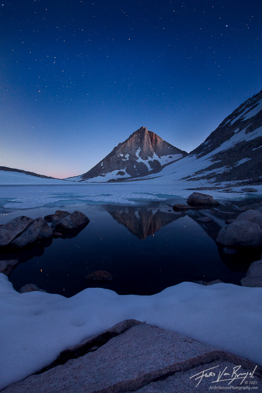 Stars over Sierra Nevada, John Muir Wilderness, California, sierra diamond, merriam peak, royce lakes, twilight, snow, l, photo