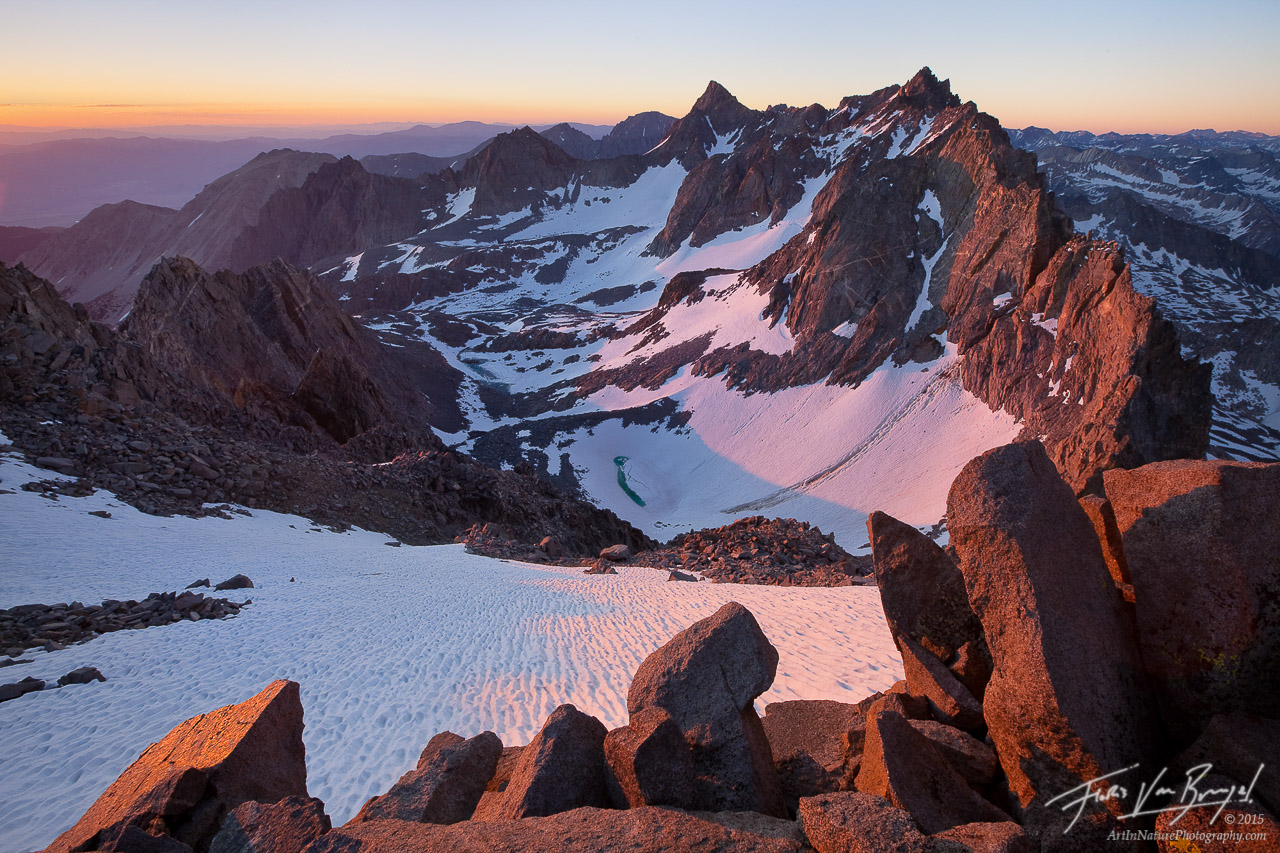Sunrise from Mount Agassiz, Sierra Nevada, California, palisades, sierra backbone, john muir wilderness, palisade glacie, photo