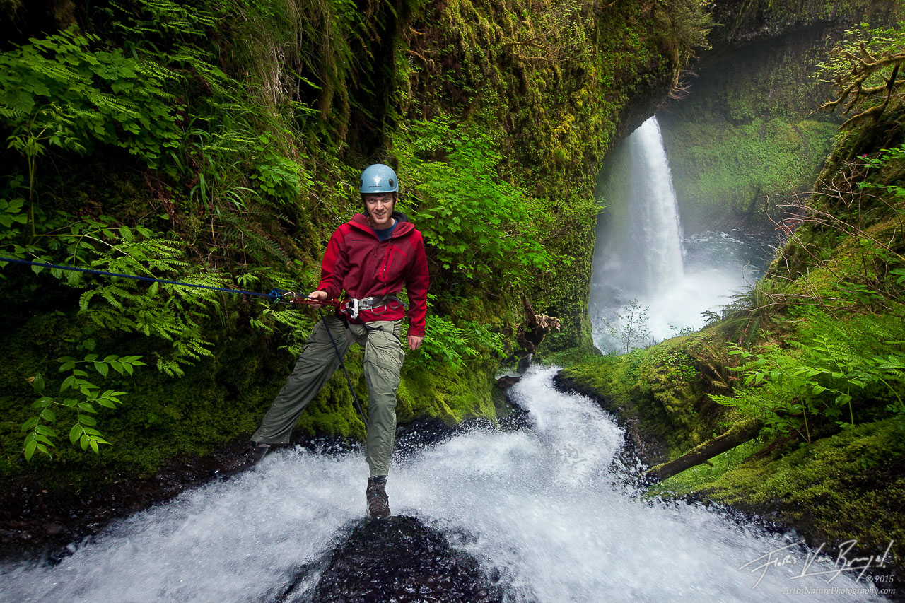 Waterfall Rappelling, Columbia River Gorge, Oregon, photo