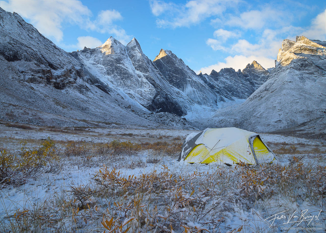 Tent in the Arrigetch Peaks, Brooks Range, Alaska, photo