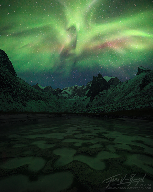 Aurora Borealis over the Arrigetch Peaks, Brooks Range, Alaska, photo