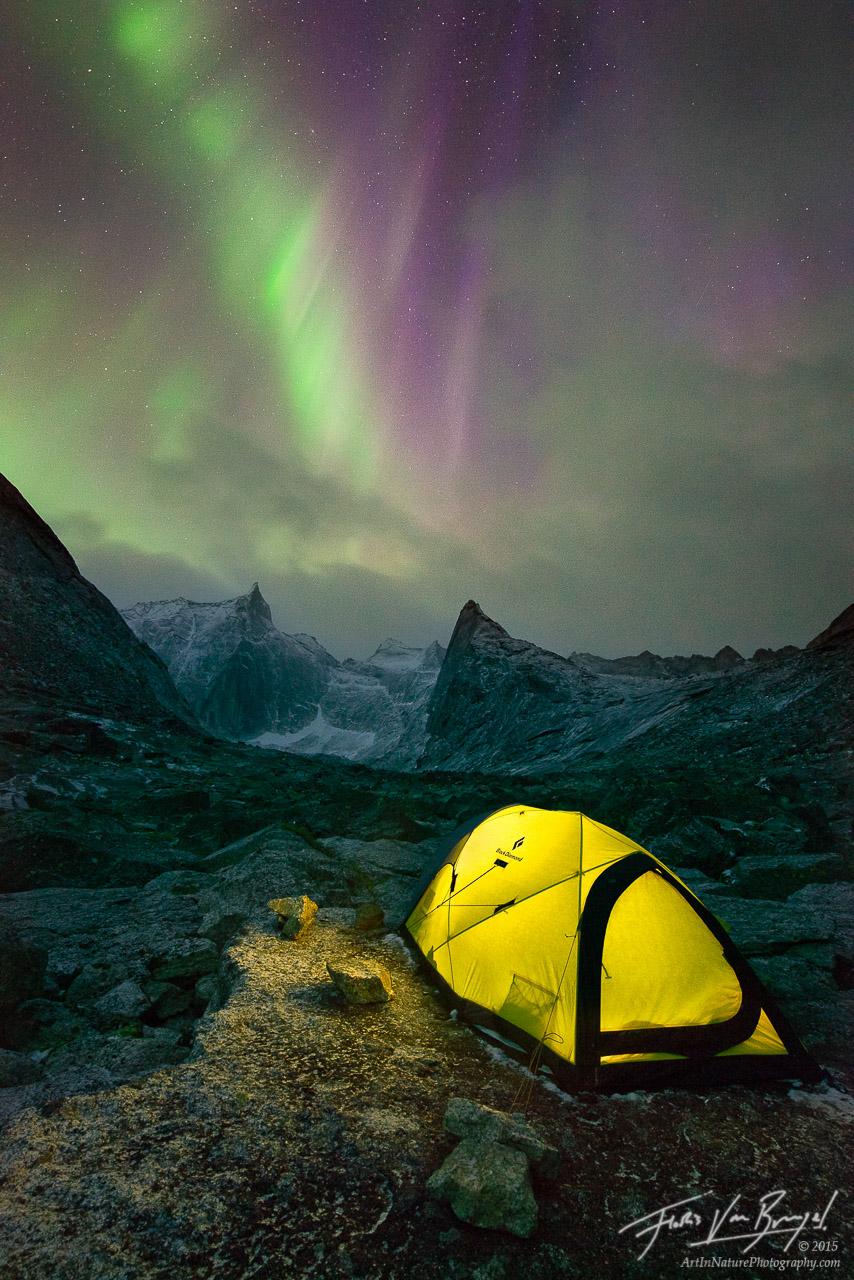 Camping Under the Aurora Borealis, Brooks Range, Alaska, photo