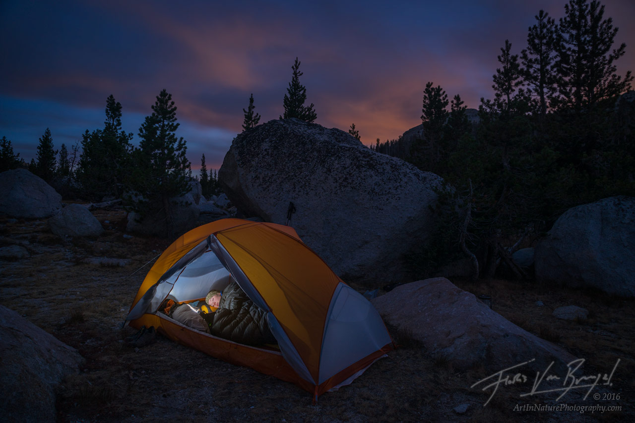 Tent Camping, Yosemite Backcountry, Night , photo