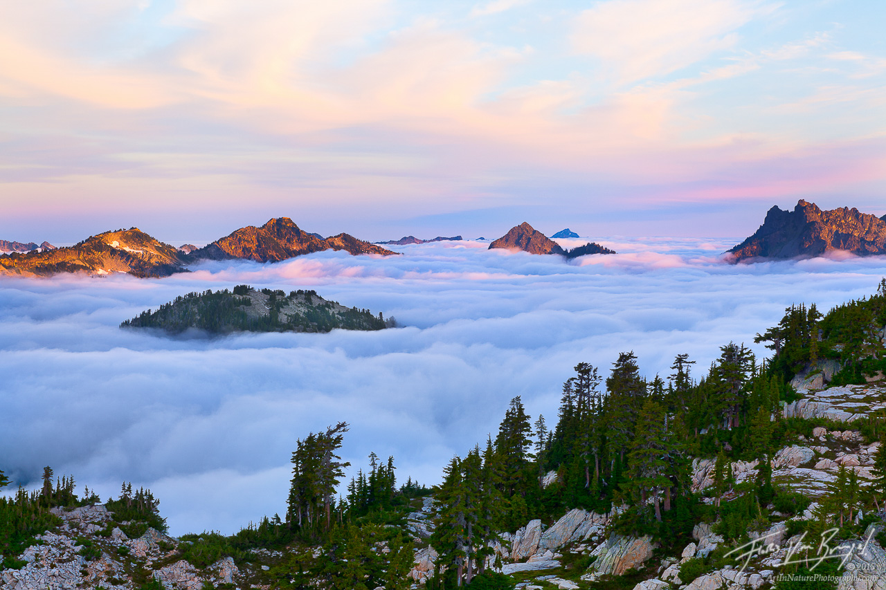 Dawn in the Cascades, Alpine Lakes Wilderness, Washington, photo