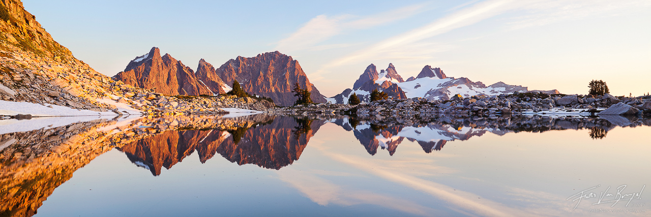Cascade Mountain Reflection Panorama, Alpine Lakes Wilderness, Washington, photo