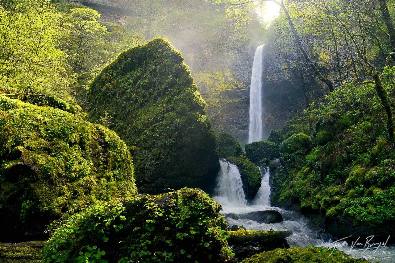 Sunshine Elowah Falls, Columbia River Gorge, Oregon, photo