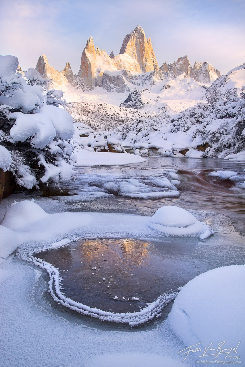 Reflections of Fitzroy, Winter Frost, Patagonia, photo
