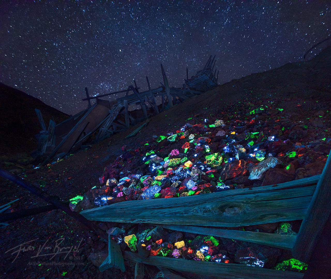 Fluorescent Minerals, Mine, California, photo
