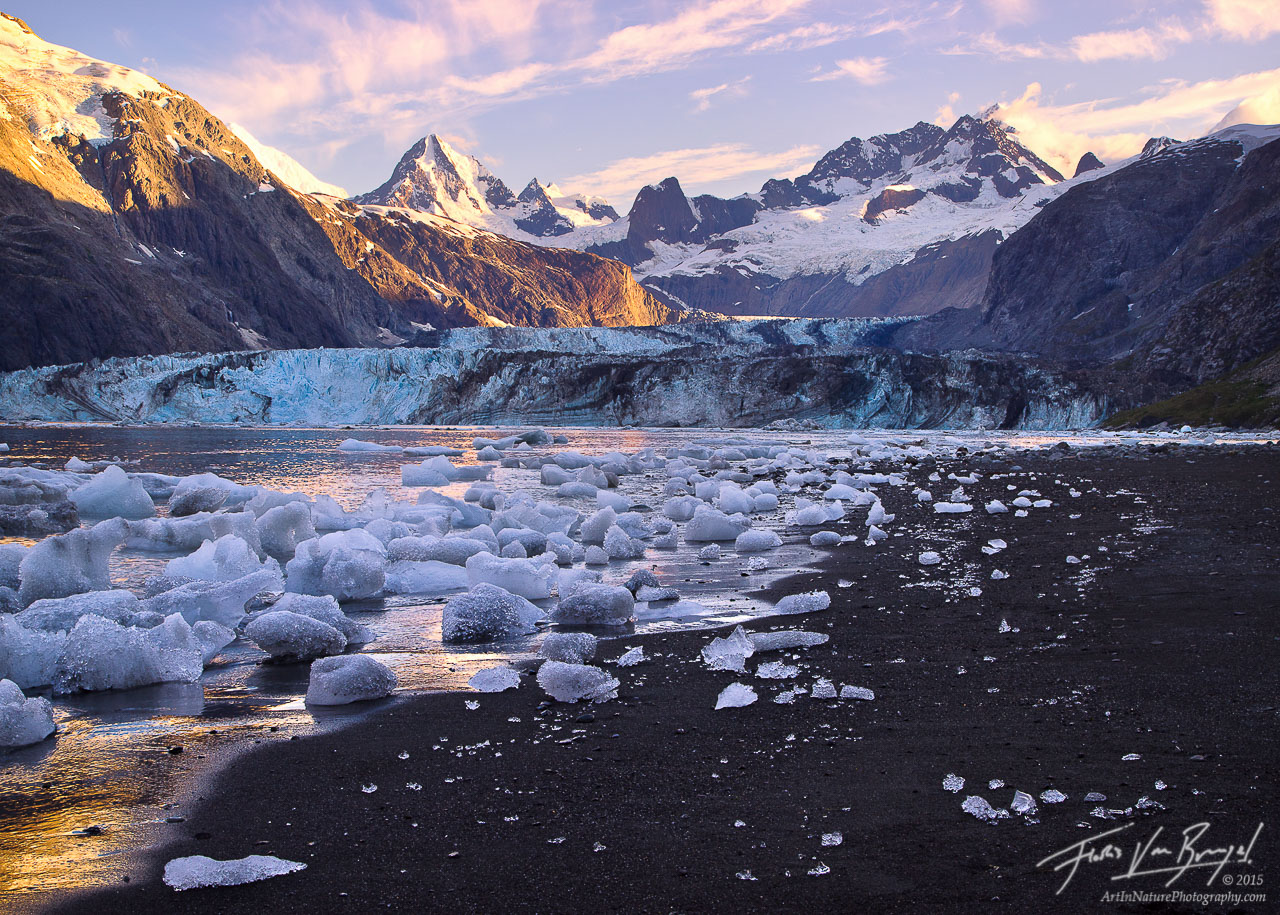 Icebergs and Black Sand Beach, Johns Hopkins Inlet, Glacier Bay National Park, photo