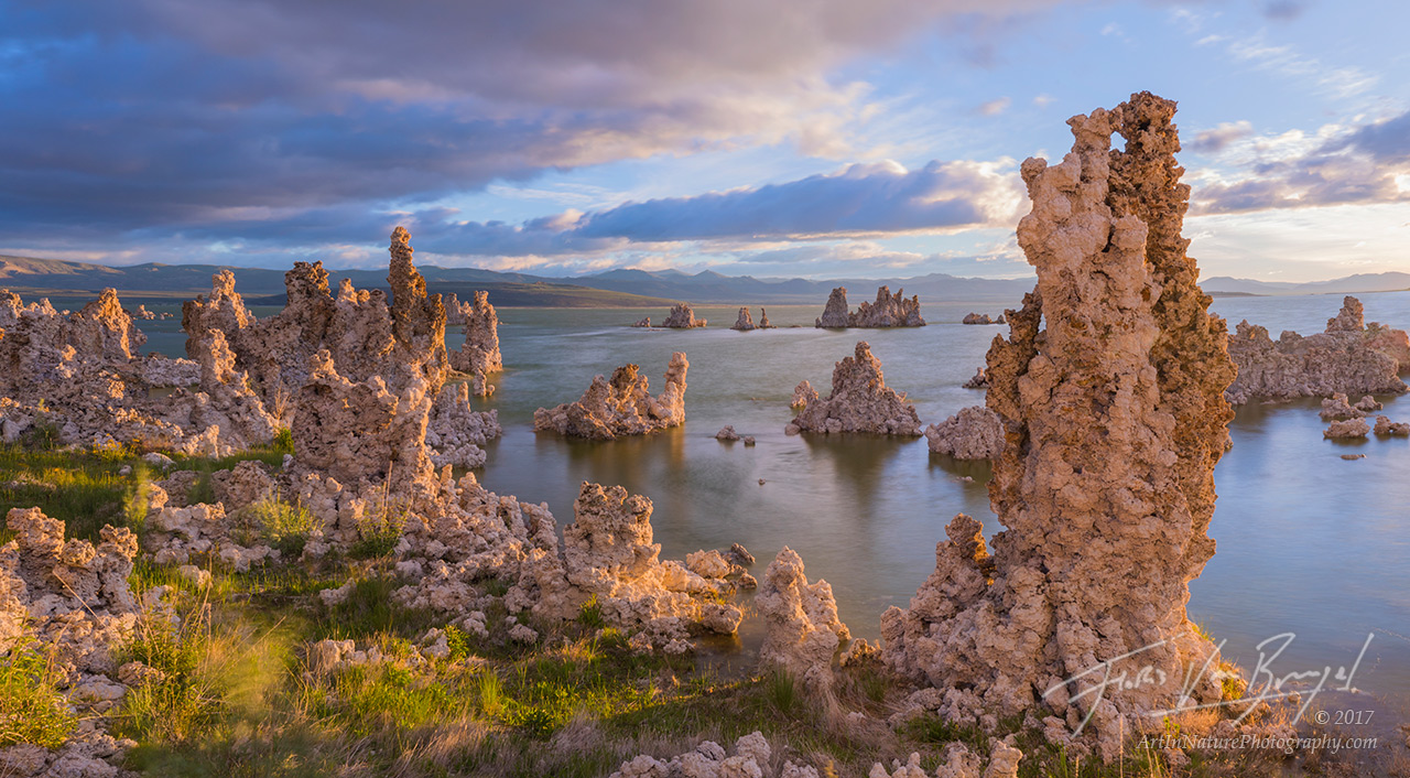 mono lake, tufa, sunrise, panorama, photo