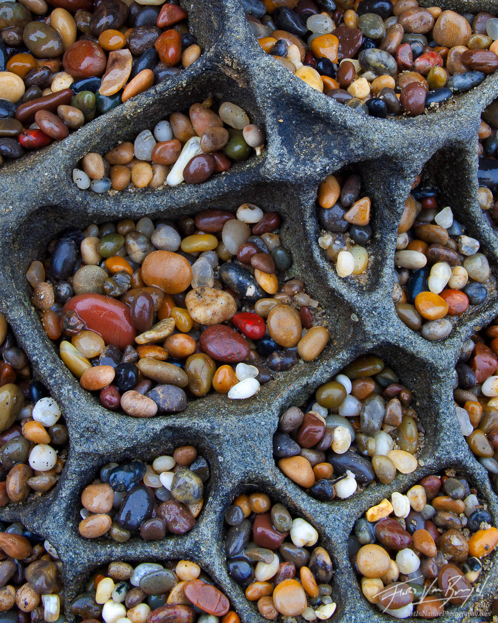 Pebbles in Tafoni, Santa Cruz, California, coast, photo