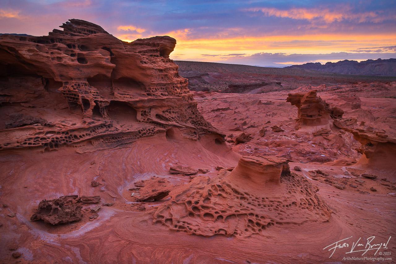 Ancient Sandstone, Nevada, Sunset, photo