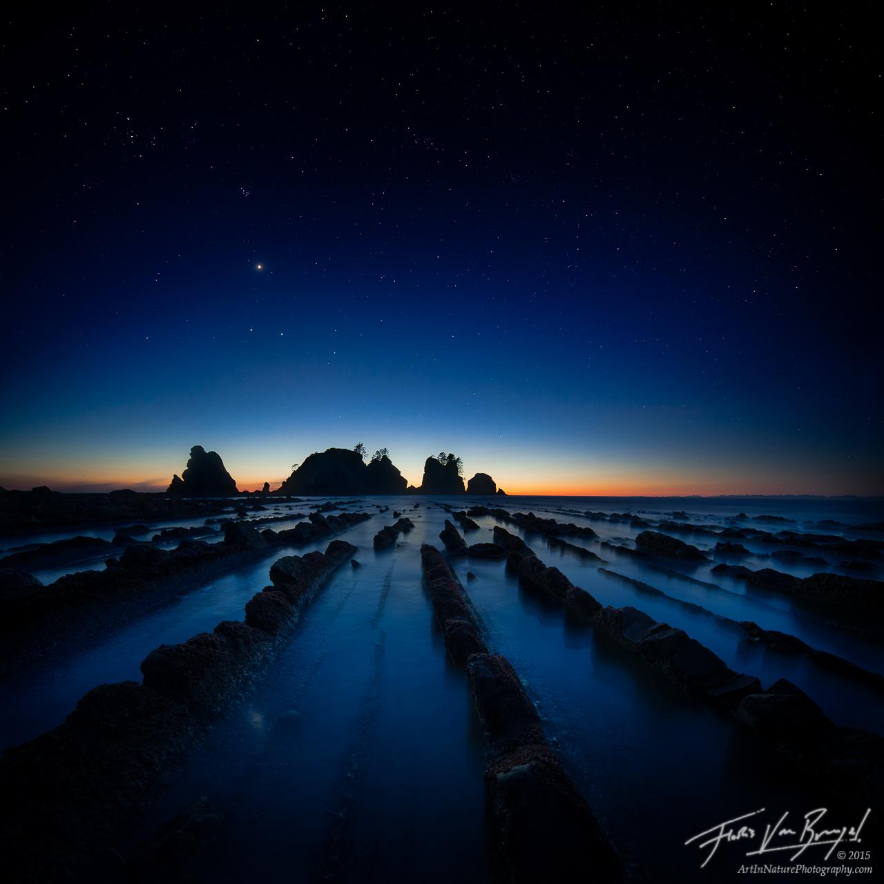 Shi Shi Beach, Olympic National Park, Stars, Night, photo