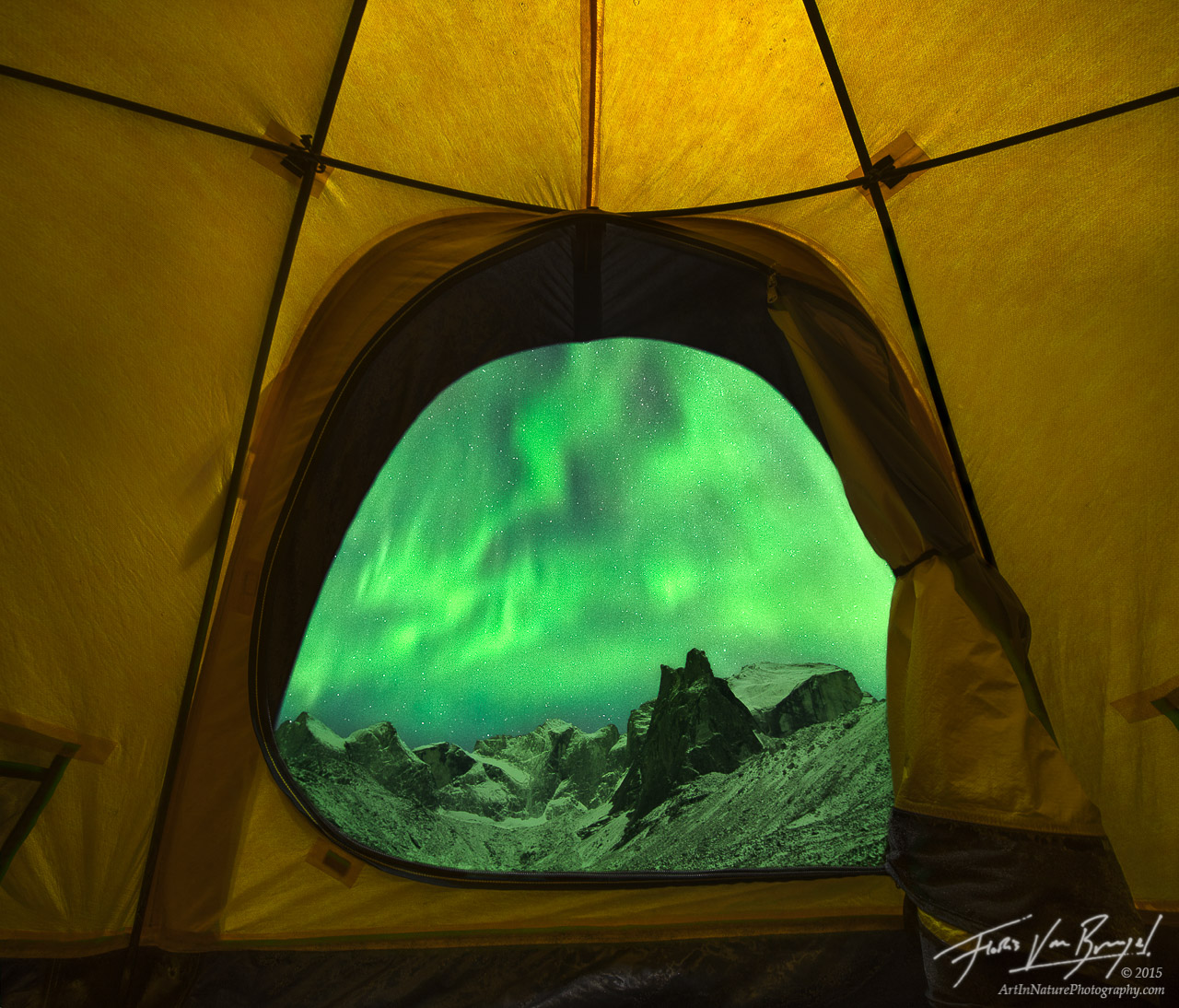 Watching Aurora Borealis from a Tent, Brooks Range, Alaska , photo