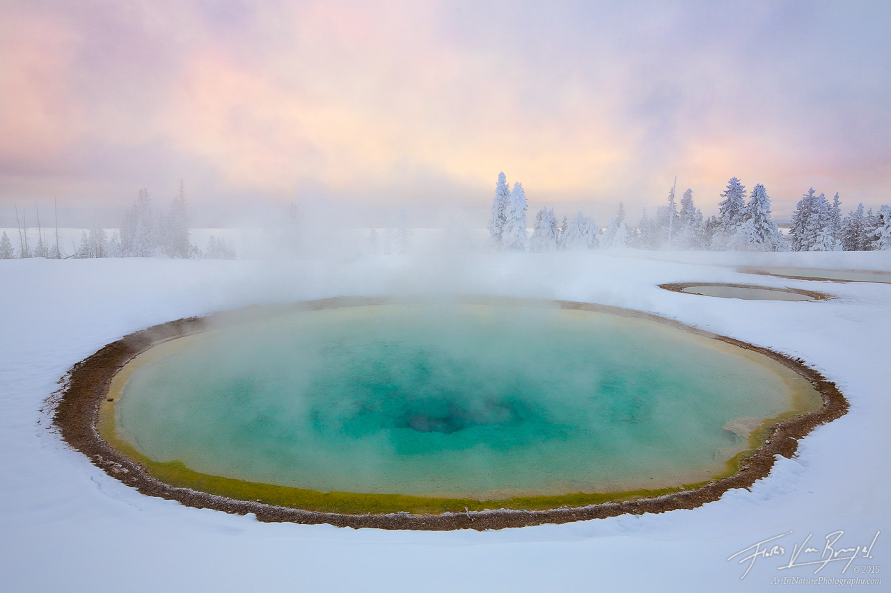 Hot Spring in Winter, Yellowstone National Park, Wyoming, winter's warmth, west thumb geyser basin, , photo
